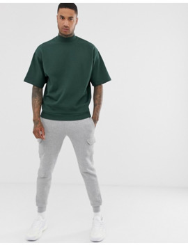asos-design-short-sleeve-oversized-turtleneck-sweatshirt-in-dark-green by asos-design