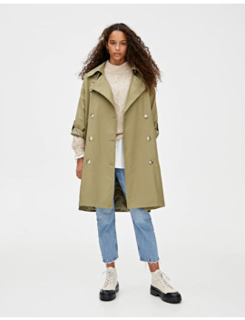 oversized-trench-coat-with-contrast-buttons-and-vents by pull-&-bear