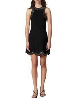 jenn-studded-fit-&-flare-dress by sandro