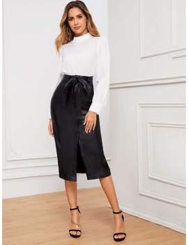 coated-split-front-belted-denim-skirt by sheinside