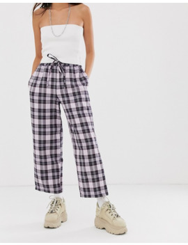 asos-design-lilac-check-pull-on-trouser by asos-design