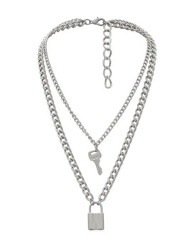 hot-lock-key-decoration-chain-necklace---silver by zaful