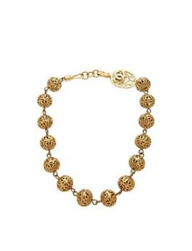 Gold Tone Fretwork Choker Necklace by Chanel
