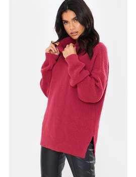 Raspberry Roll Neck Slouchy Jumper by In The Style