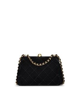 Black Quilted Velvet Shoulder Bag by Chanel