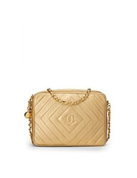 Gold Metallic Lambskin Camera Bag Medium by Chanel
