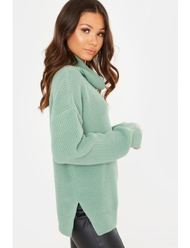 Light Green Roll Neck Slouchy Jumper by In The Style