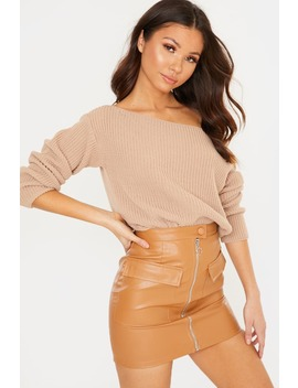 Camel Off Shoulder Jumper by In The Style