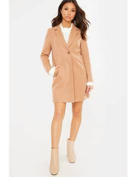 Camel Single Breasted Faux Wool Coat by In The Style