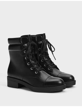 botines-planos-acordonados-zapatos---bershka-mexico by bershka