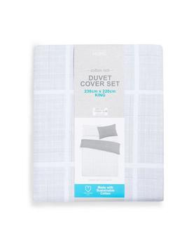 sustainable-grey-check-king-duvet by primark
