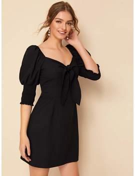 tie-front-sweetheart-neckline-shirred-dress by sheinside