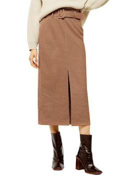 belted-check-slit-midi-skirt by topshop
