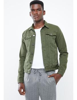 colour-slim-denim-trucker-jacket---khaki by superbalist