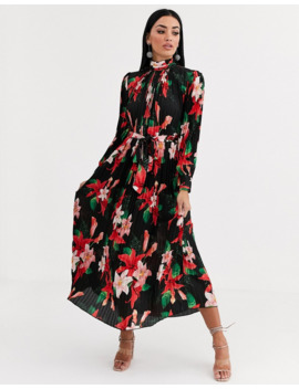 forever-u-satin-pleated-midaxi-dress-in-dark-floral by forever-unique