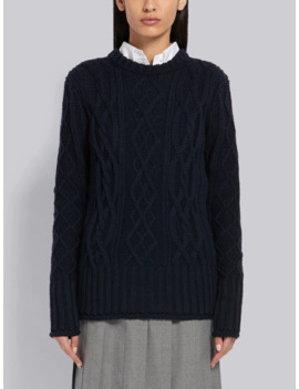 Center Back Rwb Navy Pullover by Thom Browne