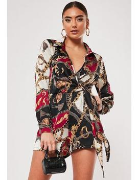 black-chain-print-satin-wrap-playsuit by missguided