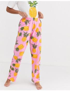 asos-design-mix-&-match-pineapple-print-jersey-pyjama-trouser by asos-design