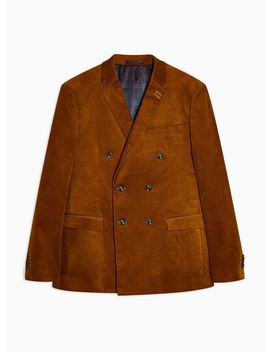 autumnal-brown-corduroy-skinny-fit-double-breasted-blazer-with-notch-lapels by topman