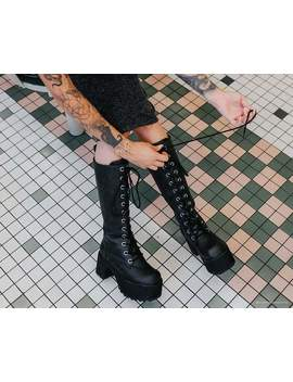 distressed-knee-high-nosebleed-boot by tuk