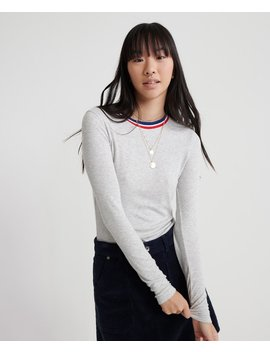 Tipped Rib Long Sleeved Essential Top by Superdry
