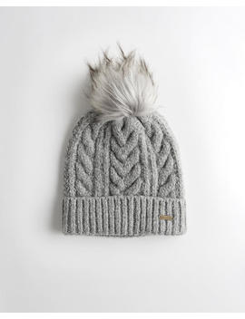 cable-knit-pom-beanie by hollister