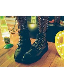 Black Tu Kskin™ Skull Buckle Pointed Boot by Tuk