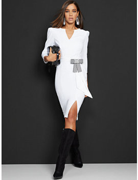 white-tie-front-sheath-dress---magic-crepe by new-york-&-company
