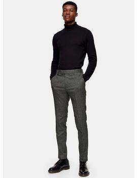 black-mini-check-skinny-pants by topman