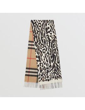 Leopard Print And Check Cashmere Scarf by Burberry