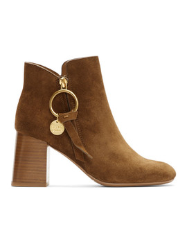 brown-suede-medium-louise-ankle-boots by see-by-chloÉ