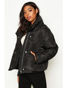 tall-crop-padded-funnel-neck-jacket by boohoo