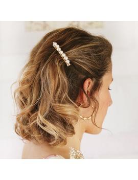 apollina-small-model-bead-bar,-pearl-hair-pinch,-hair-accessory,-hair-barrette,-fancy-barrette,-hair-jewelry by etsy