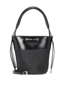 leather-trimmed-nylon-bucket-bag by prada
