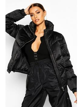 funnel-neck-zip-detail-puffer by boohoo