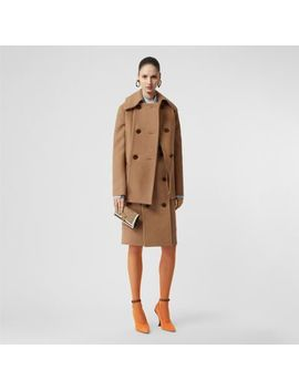 Button Panel Detail Wool Cashmere Pea Coat by Burberry