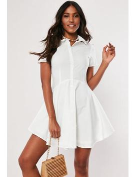 white-button-down-skater-shirt-dress by missguided