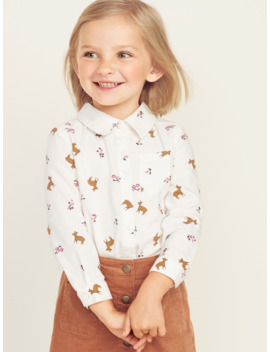 printed-button-front-twill-shirt-for-toddler-girls by old-navy