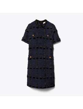 Ribbon Tweed Sweater Dress by Tory Burch