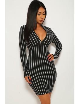 black-white-striped-party-dress by ami-clubwear