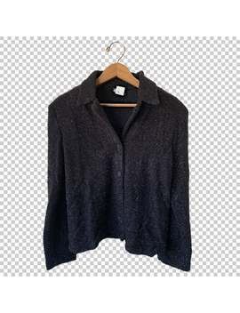 90s-fuzzy-glitter-cardigan-sweater-__-1990s-black-silver-plush-buttonp-up-sweater-__-womens-large by etsy
