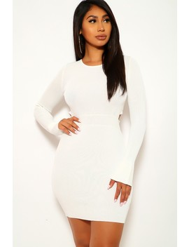 White Long Sleeves Fitted Thick Sweater Dress by Ami Clubwear