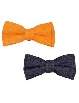 bow-&-arrow-slide-bow-ties-dog-collar---orange-and-dark-denim by bow-&-arrow