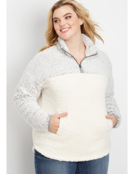 plus-size-colorblock-sherpa-pullover-sweatshirt by maurices