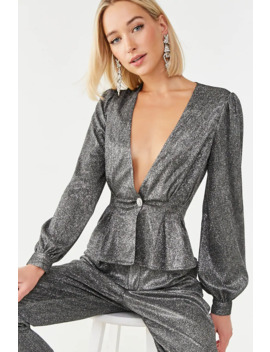 pleated-metallic-blazer by forever-21