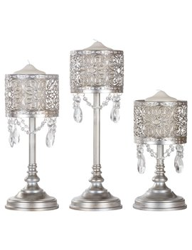 amalfi-décor-3-piece-vintage-metal-hurricane-pillar-candle-holder-set-(silver)-|-stainless-steel-frame-with-glass-crystals by amalfi-décor