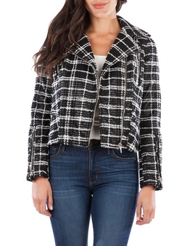 eveline-textured-check-faux-leather-moto-jacket by kut-from-the-kloth