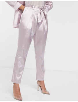 missguided-petite-two-piece-satin-belted-cigarette-pants-in-lilac by missguideds