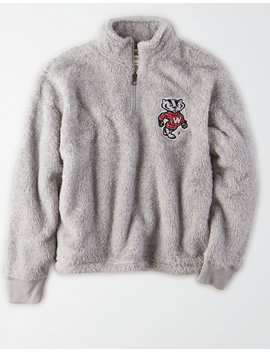 tailgate-womens-wisconsin-badgers-sherpa-zip-up-sweatshirt by american-eagle-outfitters