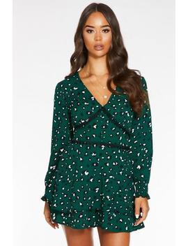 green-and-black-animal-print-crochet-trim-playsuit by quiz